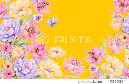 우아한 수채화 장미와 작약 꽃 45530394