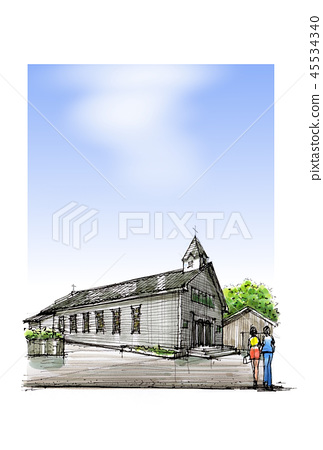 Landscape sketch Nagasaki Goto: Kaizu Church 45534340