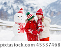 snowman, snow, child 45537468