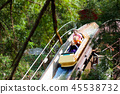 Family with kids on roller coaster in theme park. 45538732