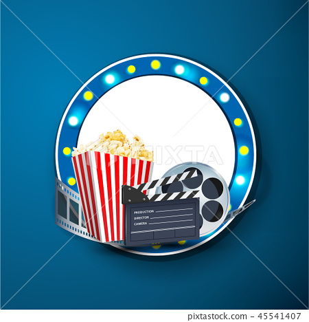 Cinema art movie watching vector poster design tem 45541407