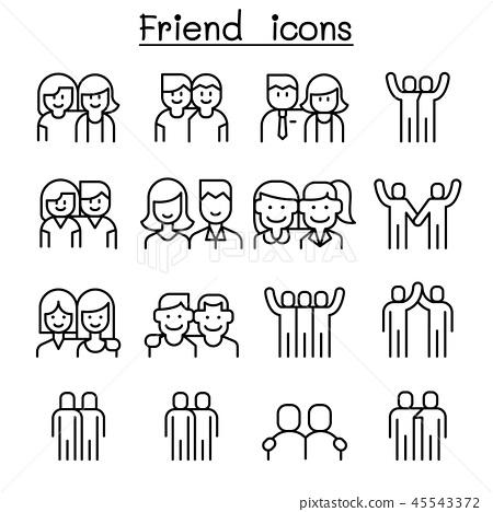 Friendship & Friend icon set in thin line style 45543372