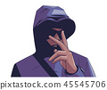 Illustration of young hooded gang member 45545706