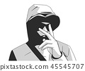 Illustration of young hooded gang member 45545707