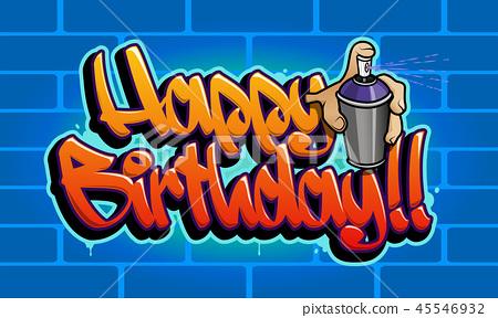Happy Birthday Graffiti Card 45546932