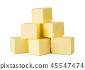 Bunch of butter cubes on a white, isolated. 45547474