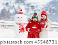 snowman, snow, child 45548731