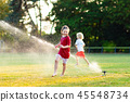 sprinkler, kids, playing 45548734