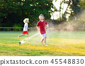 sprinkler, kids, playing 45548830