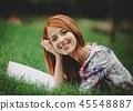 grass, female, woman 45548887
