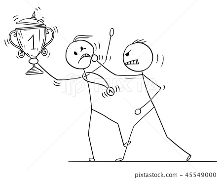 Cartoon of Man or Businessman Attacking Winner With Trophy Cup and Medal 45549000
