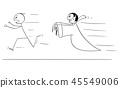 Cartoon of Scared Man Running Away From Vampire 45549006
