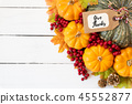 Top view of  Autumn maple leaves with Pumpkin 45552877