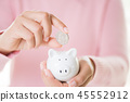 Woman hand putting coin into piggy bank. 45552912