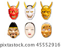 Collection of Traditional Japanese mask 45552916