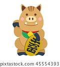 Cute cartoon Japanese lucky wild boar 45554393