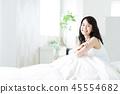 여성 자고 일어나기 아침 기상 젊은 여성 귀여운 라이프 스타일 45554682