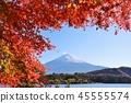 맑은 가을 하늘의 따뜻한 날씨 후지산과 단풍 45555574