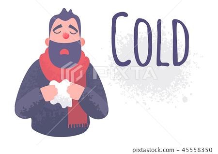 Cold flu banner. Ill virus sick concept 45558350