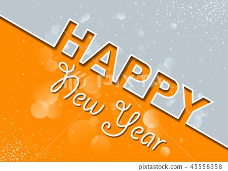 Orange Gray New Year Greeting Card 45558358