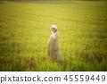 pregnant woman in green dress relaxing in meadow 45559449