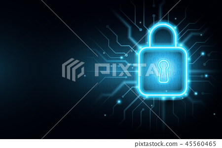 Padlock with Cyber security background 45560465