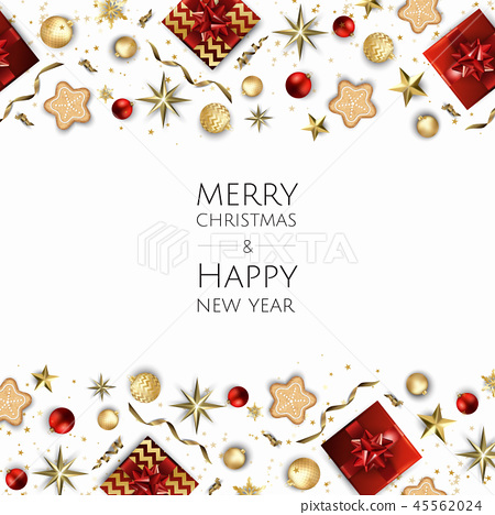 Christmas bright background with golden Xmas decorations. Merry christmas greeting card. 45562024