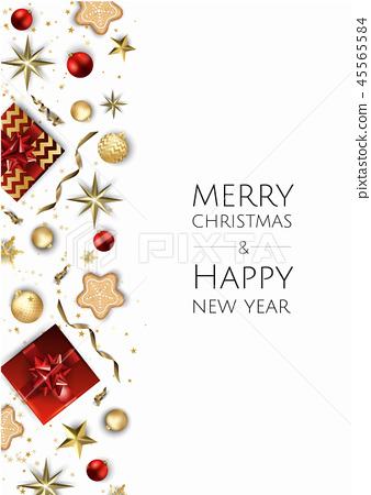 Christmas vector background. Design greeting card, banner, poster. Top view gift box, xmas 45565584