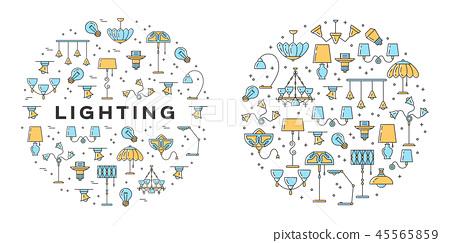 Lighting icons set. Line art design, Infographics in a circle. Wall lamp, desk lamp, floor lamp 45565859