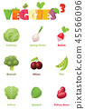Vector vegetables icon set 45566096