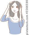 稀薄的女人擔心女人圖 45566590