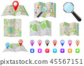 Travel tools - city maps, location markers, magnifying glass 45567151