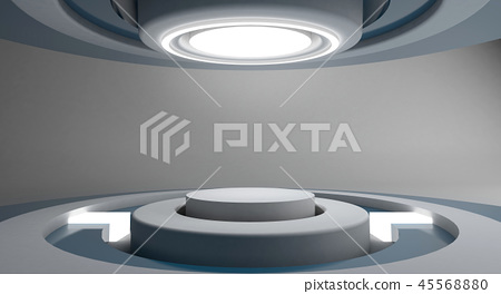 White futuristic and light circle stage background 45568880