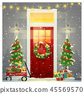 Decorated Christmas front door background 45569570