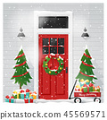 Decorated Christmas front door background 45569571