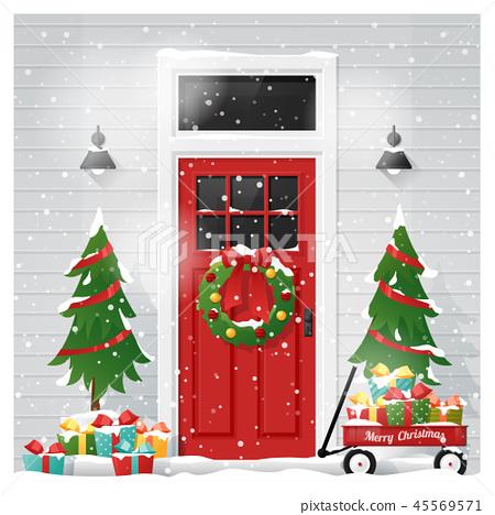Decorated Christmas front door background 45569571