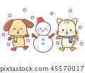 눈 놀이 - 개 - 고양이 - 눈사람 45570017