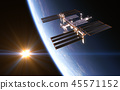 International Space Station On Background Of Rising Sun 45571152