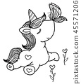 Vector cute unicorn and butterfly. 45571206
