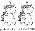 Vector cute unicorn cartoon. 45571208
