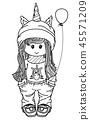 Vector cute unicorn  girl cartoon. 45571209