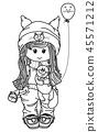 Vector cute girl cartoon holding kitten. 45571212