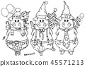 Vector  funny pigs with gifts. 45571213