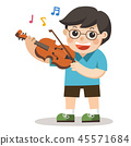 A boy playing violin on white background. 45571684