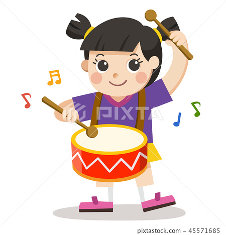 A Girl playing drum on white background. 45571685