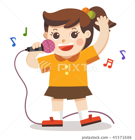 A Girl singing with microphone on white background 45571686