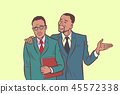 African businessman comforts supports sympathetic feels other sa 45572338