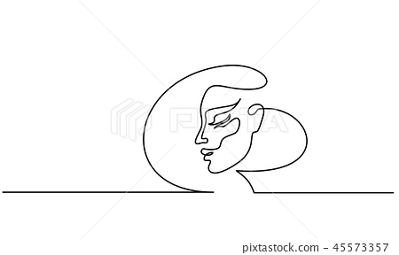 Abstract portrait of a woman side view 45573357