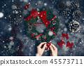 Woman making Christmas wreath Flat lay. Top view. Xmas Workshop. 45573711
