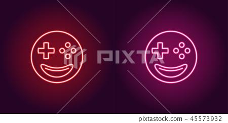 Neon emoji gamer, glowing sign. Vector emoji icon 45573932